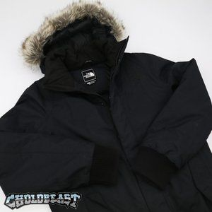 550 North Face faux hooded quilted puffer jacket